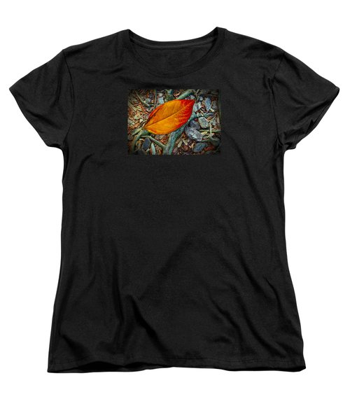 Women's T-Shirt (Standard Cut) featuring the photograph The Last Leaf by Barbara Middleton