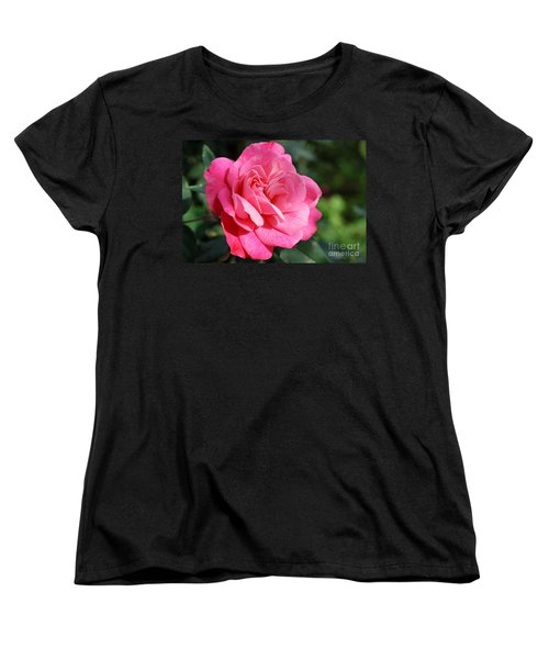 Women's T-Shirt (Standard Cut) featuring the photograph The Pink Rose by Fotosas Photography