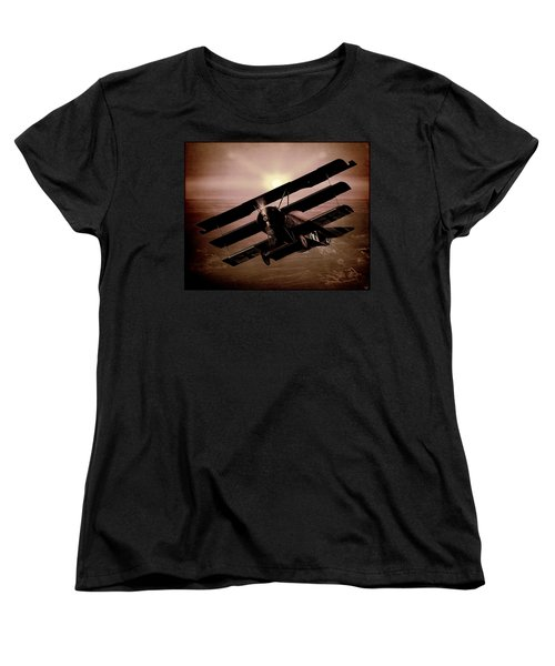 Women's T-Shirt (Standard Cut) featuring the photograph The Red Baron's Fokker At Sunset by Chris Lord