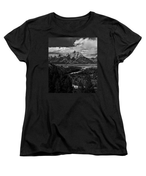 The Tetons - Il Bw Women's T-Shirt (Standard Cut) by Larry Carr
