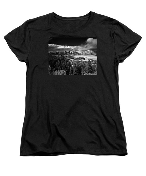 The Tetons Women's T-Shirt (Standard Cut) by Larry Carr