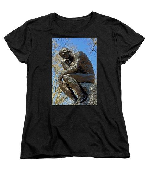 The Thinker By Rodin Women's T-Shirt (Standard Cut) by Lisa Phillips