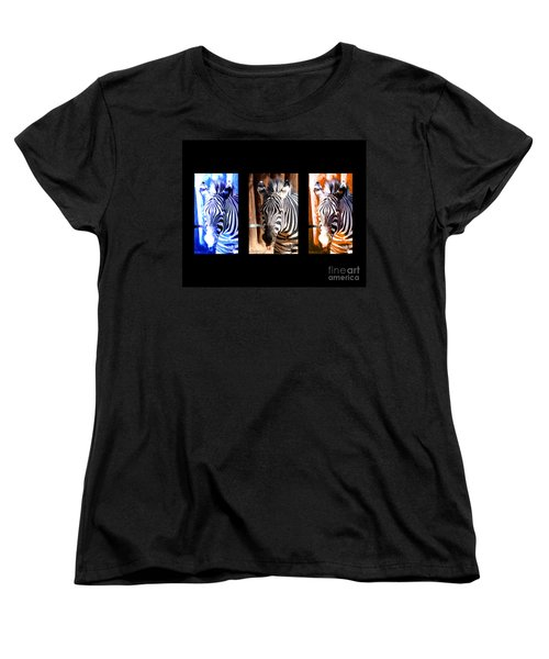 Women's T-Shirt (Standard Cut) featuring the photograph The Three Zebras Black Borders by Rebecca Margraf