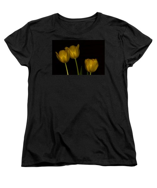Women's T-Shirt (Standard Cut) featuring the photograph Three Tulips by Ed Gleichman