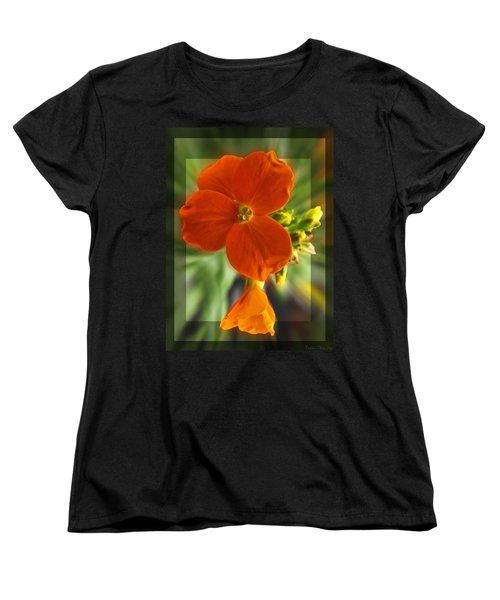 Women's T-Shirt (Standard Cut) featuring the photograph Tiny Orange Flower by Debbie Portwood