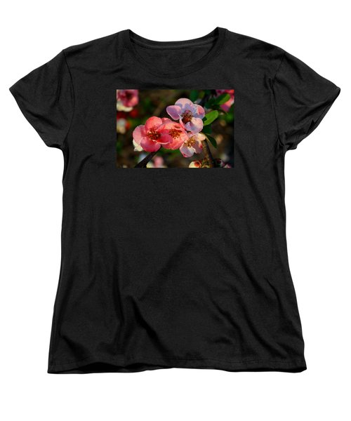 Women's T-Shirt (Standard Cut) featuring the photograph Toyo Nishiki Quince by Kathryn Meyer