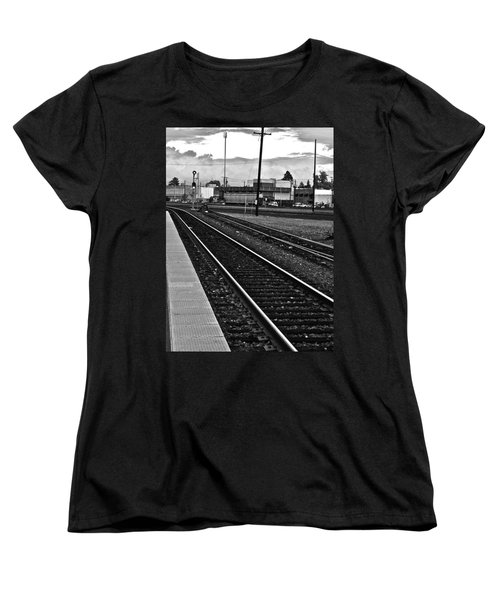 Women's T-Shirt (Standard Cut) featuring the photograph train tracks - Black and White by Bill Owen