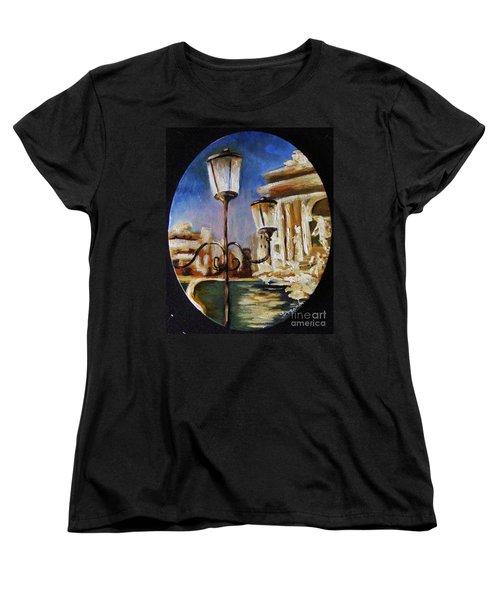 Women's T-Shirt (Standard Cut) featuring the painting Trevi Fountain by Karen  Ferrand Carroll