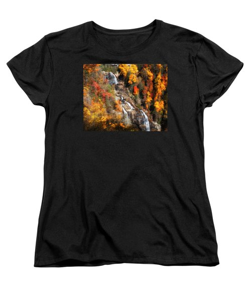 Women's T-Shirt (Standard Cut) featuring the photograph Upper Whitewater Falls by Lynne Jenkins