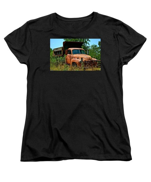 Women's T-Shirt (Standard Cut) featuring the photograph Vintage Old Time Truck by Peggy Franz