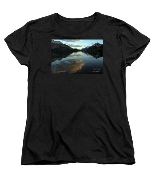 Women's T-Shirt (Standard Cut) featuring the photograph Waterton Lake Sunset Canada by Vivian Christopher