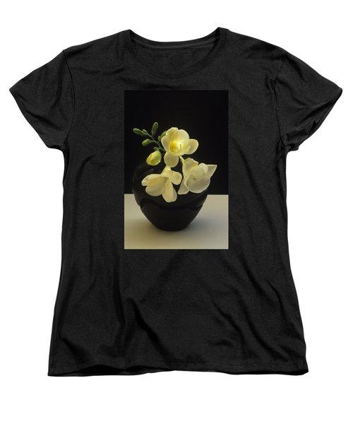 White Freesias In Black Vase Women's T-Shirt (Standard Cut) by Susan Rovira