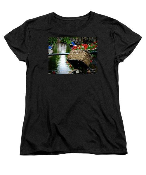 Wicker Bike Basket With Flowers Women's T-Shirt (Standard Cut)