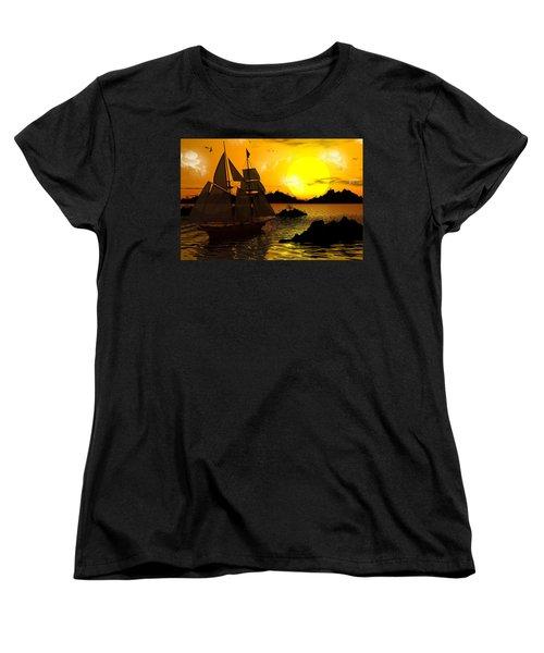 Wooden Ships Women's T-Shirt (Standard Cut) by Robert Orinski