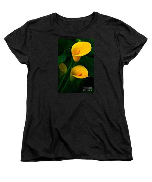 Yellow Calla Lilies Women's T-Shirt (Standard Cut) by Byron Varvarigos