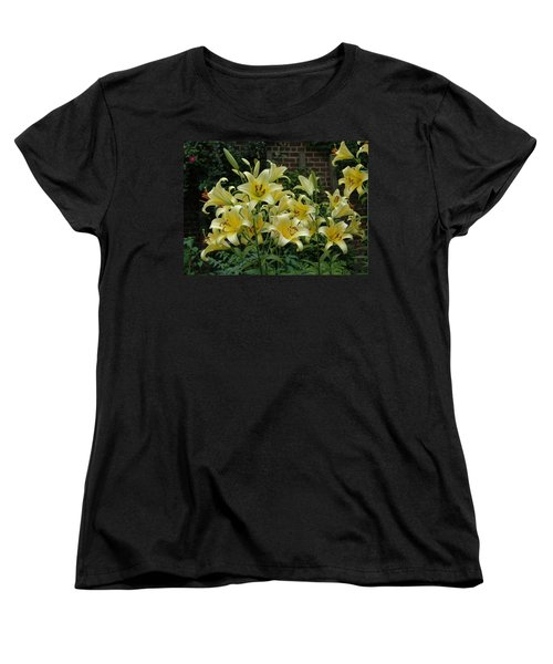 Yellow Oriental Stargazer Lilies Women's T-Shirt (Standard Cut) by Tom Wurl