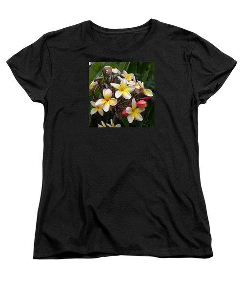 Yellow Plumeria Women's T-Shirt (Standard Cut) by Claude McCoy