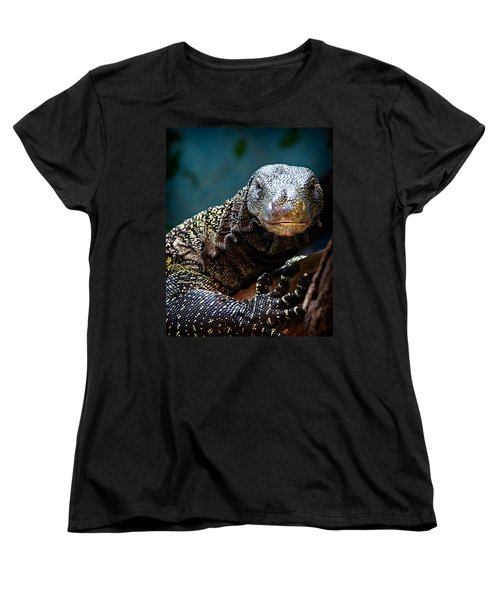 Women's T-Shirt (Standard Cut) featuring the photograph  A Crocodile Monitor Portrait by Lana Trussell