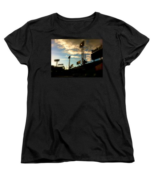 Women's T-Shirt (Standard Cut) featuring the photograph  Fenway Lights Fenway Park David Pucciarelli  by Iconic Images Art Gallery David Pucciarelli