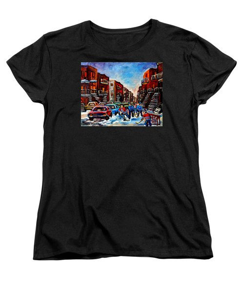 Late Afternoon Street Hockey Women's T-Shirt (Standard Cut) by Carole Spandau