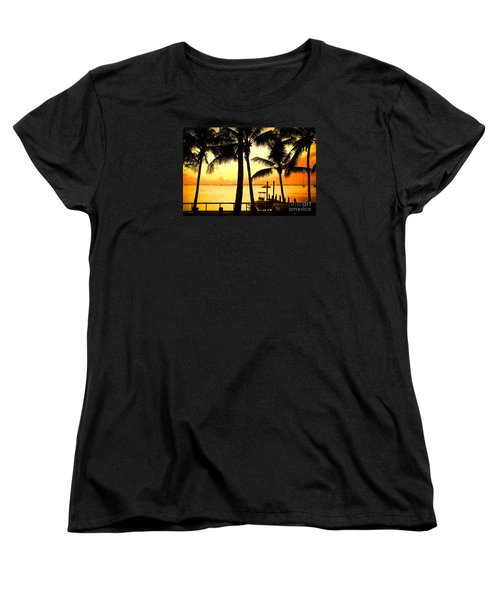 Women's T-Shirt (Standard Cut) featuring the painting  Palm Sunset On The Keys by Judy Kay