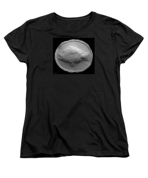 Women's T-Shirt (Standard Cut) featuring the relief  Relief Saltwater Fish Drawing by Suhas Tavkar