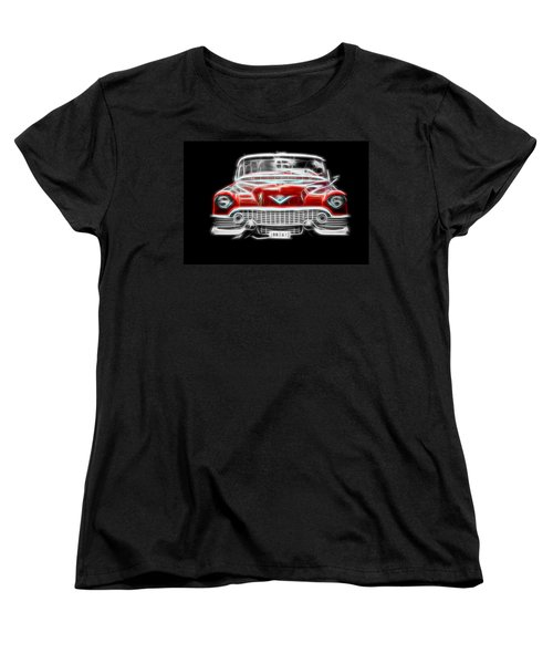 Vintage Car Women's T-Shirt (Standard Cut) featuring the photograph  Vintage Red Cadillac by Aaron Berg
