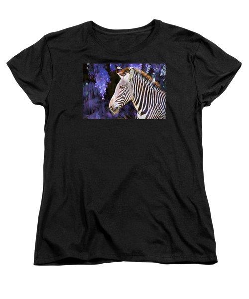 Women's T-Shirt (Standard Cut) featuring the painting  Zebra Portrait by Judy Kay