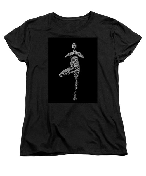 0027-dja Yoga Balance Black White Zebra Stripe Photograph By Chris Maher Women's T-Shirt (Standard Cut)