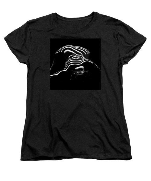 0686-ar Head Down Bottom Up Zebra Striped Female Figure Women's T-Shirt (Standard Cut) by Chris Maher
