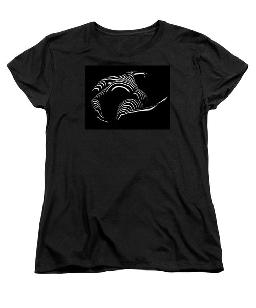 0758-ar Rear View Bbw Zebra Woman Large Full Figured Powerful Female Black And White Abstract Maher Women's T-Shirt (Standard Cut) by Chris Maher