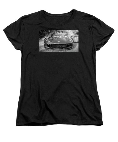 Women's T-Shirt (Standard Cut) featuring the photograph 2017 Chevrolet Corvette Gran Sport Bw by Rich Franco
