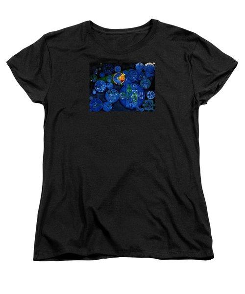 Women's T-Shirt (Standard Cut) featuring the digital art Abstract Painting - Dark Midnight Blue by Vitaliy Gladkiy