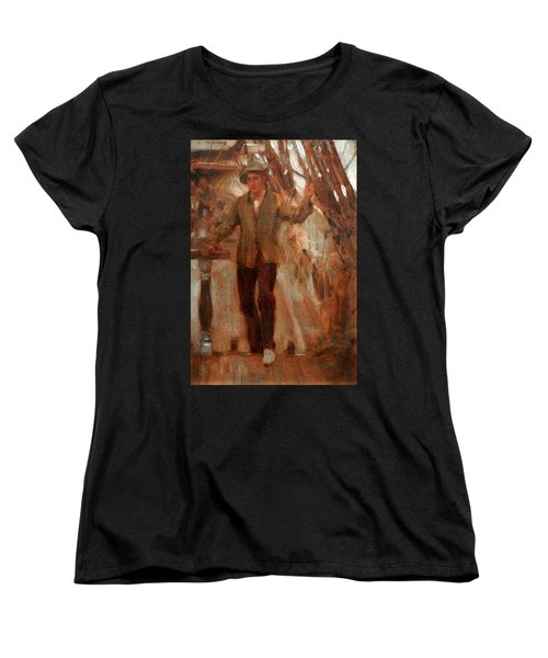 Women's T-Shirt (Standard Cut) featuring the painting At The Break Of The Poop  by Henry Scott Tuke