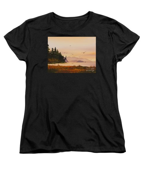 Women's T-Shirt (Standard Cut) featuring the painting Autumn Shore by James Williamson