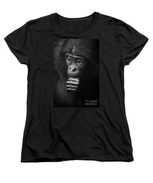 Women's T-Shirt (Standard Cut) featuring the photograph Baby Bonobo Portrait by Helga Koehrer-Wagner