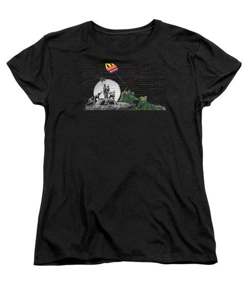 Banksy - The Tribute - New World Order Women's T-Shirt (Standard Cut) by Serge Averbukh