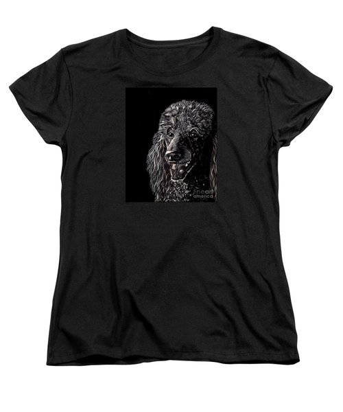 Women's T-Shirt (Standard Cut) featuring the drawing Black Standard Poodle by Terri Mills