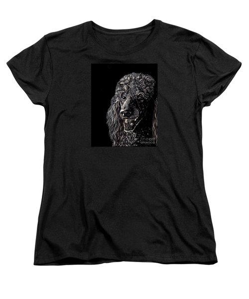 Black Standard Poodle Women's T-Shirt (Standard Cut) by Terri Mills