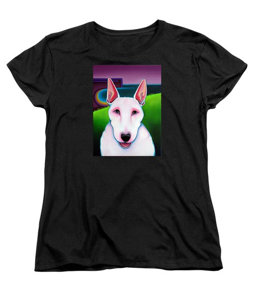 Women's T-Shirt (Standard Cut) featuring the painting Bull Terrier by Leanne WILKES