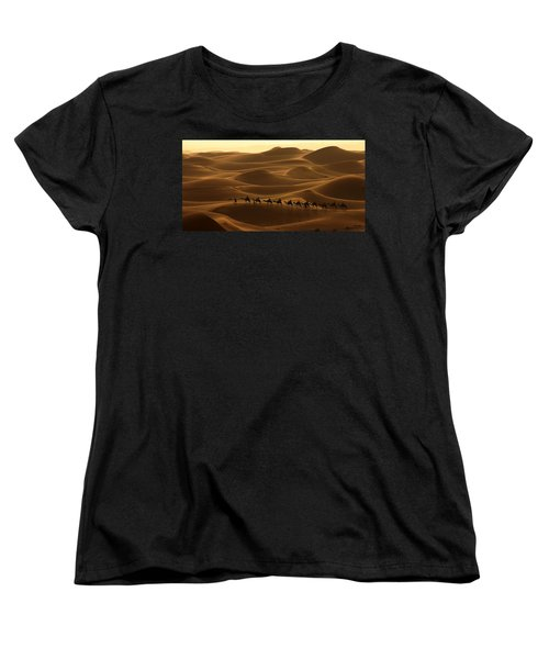 Camel Caravan In The Erg Chebbi Southern Morocco Women's T-Shirt (Standard Cut) by Ralph A  Ledergerber-Photography