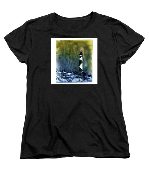 Women's T-Shirt (Standard Cut) featuring the mixed media Cape Lookout Lighthouse by Ryan Fox