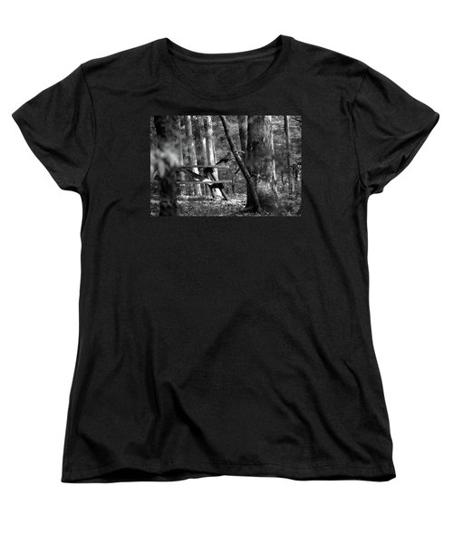 Crow On A Table Women's T-Shirt (Standard Cut) by Andy Lawless