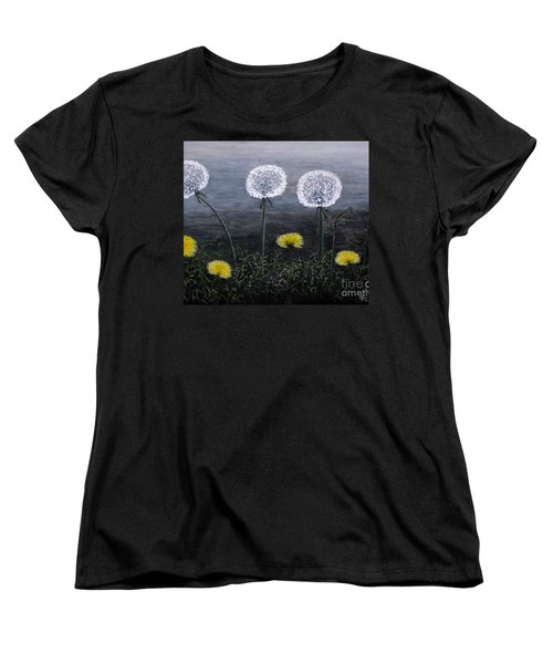 Women's T-Shirt (Standard Cut) featuring the painting Dandelion Family by Judy Kirouac
