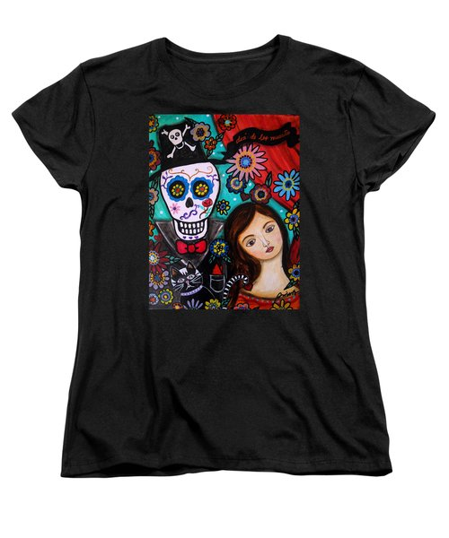 Women's T-Shirt (Standard Cut) featuring the painting Day Of The Dead by Pristine Cartera Turkus