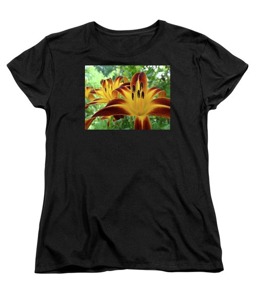 Women's T-Shirt (Standard Cut) featuring the photograph Daylilies At Daybreak by Rebecca Overton
