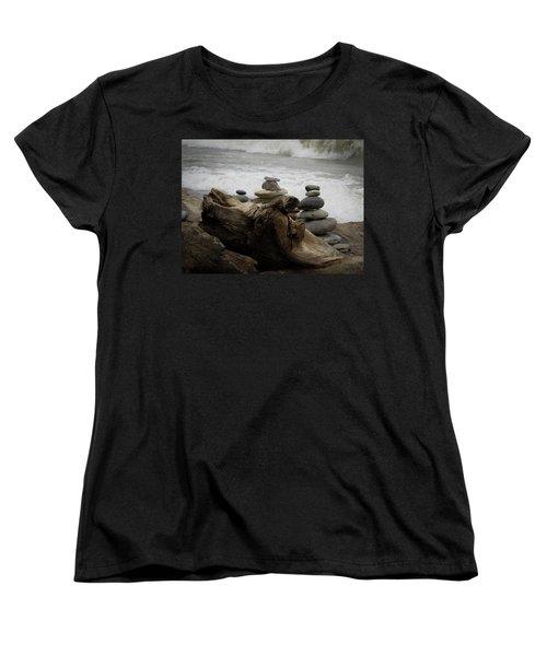 Women's T-Shirt (Standard Cut) featuring the photograph Driftwood Cairns by Kimberly Mackowski