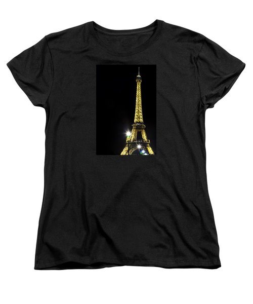 Women's T-Shirt (Standard Cut) featuring the photograph Eiffel At Night by Andrew Soundarajan
