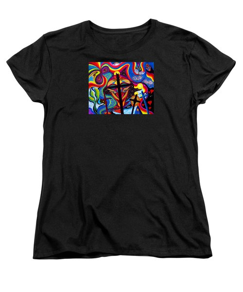 Women's T-Shirt (Standard Cut) featuring the painting Crosses To Bear by Marina Petro