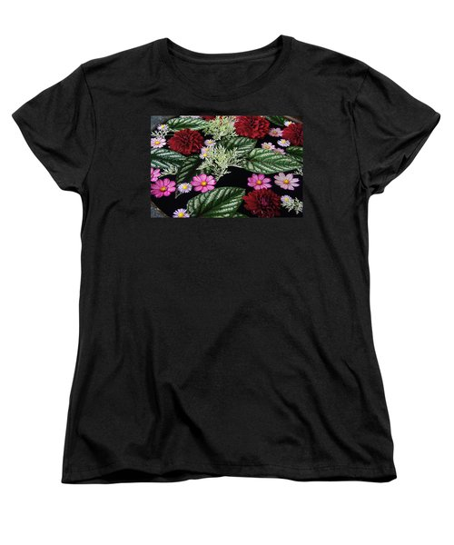 Women's T-Shirt (Standard Cut) featuring the photograph Floating Flower Bouquet by Byron Varvarigos